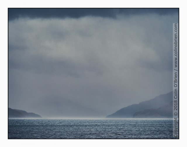 Looking at the mainland in driving rain